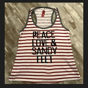 Sundry Peace Love & Sandy Feet tank Sz 1 Small NEW
